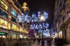 Vista di notte di Barcellona nell'inverno Fotografia Stock