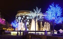 Vista di notte di Barcellona nell'inverno Fotografie Stock Libere da Diritti