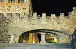 Vista di notte di Caceres (Estremadura, Spagna) Fotografia Stock
