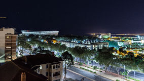 Vista di notte di Cape Town che trascura lo stadio di Cape Town Immagine Stock Libera da Diritti