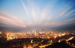 Vista di notte di Chongqing Fotografia Stock