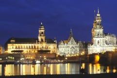 Vista di notte di Dresda Immagini Stock Libere da Diritti