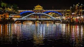 Vista di notte di Fenghuang, Cina Immagini Stock Libere da Diritti