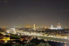 Vista di notte di Firenze Fotografie Stock