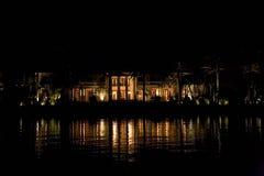 Vista di notte di Florida Miami dalla barca Fotografia Stock Libera da Diritti