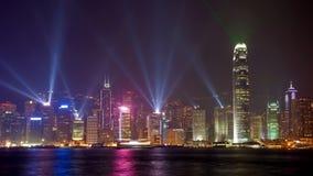 Vista di notte di Hong Kong Cina dell'orizzonte Immagine Stock Libera da Diritti
