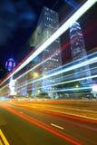 Vista di notte di Hong Kong con la luce dell'automobile Fotografie Stock