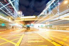 Vista di notte di Hong Kong con la luce dell'automobile Immagine Stock Libera da Diritti