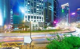 Vista di notte di Hong Kong con la luce dell'automobile Fotografia Stock