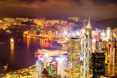 Vista di notte di Hong Kong Victoria Harbor Immagini Stock