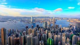 Vista di notte di Hong Kong Victoria Harbor Immagine Stock Libera da Diritti