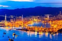 Vista di notte di Hong Kong Victoria Harbor Immagini Stock Libere da Diritti
