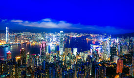 Vista di notte di Hong Kong Victoria Harbor Fotografia Stock Libera da Diritti