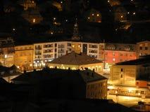 Vista di notte di Jesenik del centro Immagini Stock Libere da Diritti