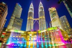 Vista di notte di Kuala Lumpur Immagine Stock