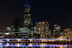 Vista di notte di Melbourne fotografie stock