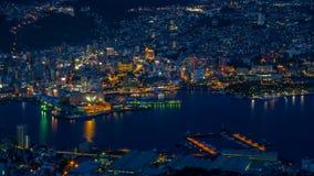 Vista di notte di Nagasaki, Giappone Fotografia Stock Libera da Diritti
