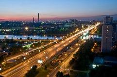Vista di notte di Nagatinsky Zaton fotografia stock libera da diritti