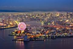 Vista di notte di Osaka immagini stock