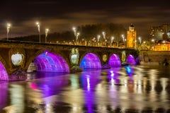 Vista di notte di Pont Neuf a Tolosa Fotografia Stock Libera da Diritti