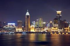 Vista di notte di Schang-Hai fotografie stock libere da diritti