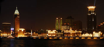 Vista di notte di Shanghi Fotografie Stock