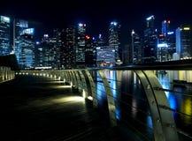 Vista di notte di Sigapore Fotografie Stock