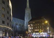 Vista di notte di Stephanplatz a Vienna Fotografie Stock Libere da Diritti