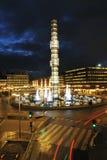 Vista di notte di Stoccolma Fotografie Stock