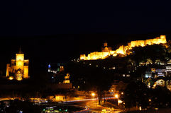 Vista di notte di Tbilisi Fotografia Stock Libera da Diritti