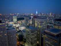 Vista di notte di Tokyo dal  metropolitano del åº del ½ del ±äº¬éƒ del  del æ della costruzione di governo, Shinjuku, Giappone Fotografie Stock Libere da Diritti