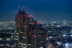 Vista di notte di Tokyo dal servizio governativo metropolitano Immagine Stock Libera da Diritti