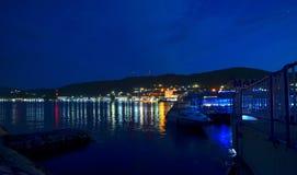 Vista di notte di un porto al Danubio Fotografia Stock Libera da Diritti