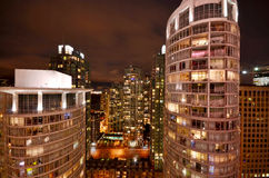 Vista di notte di Vancouver Immagine Stock