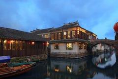 Vista di notte di Zhouzhuang Fotografia Stock Libera da Diritti