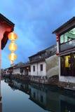 Vista di notte di Zhouzhuang Fotografia Stock