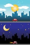 Vista di notte e di giorno di una città moderna Immagini Stock Libere da Diritti