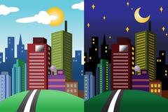 Vista di notte e di giorno di una città moderna Immagine Stock