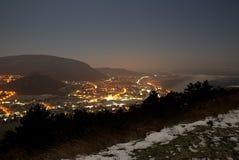 Vista di notte di Hainburg un der Donau Immagini Stock Libere da Diritti