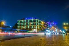 Vista di notte a Phnom Penh, Cambogia Fotografia Stock