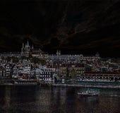 Vista di notte di Praga, fotografia stock