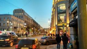 Vista di notte di San Pietroburgo Fotografia Stock