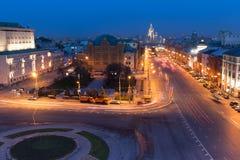 Vista di notte sopra Mosca, Russia Immagine Stock Libera da Diritti