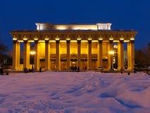 Vista di notte sulla costruzione del teatro Fotografia Stock Libera da Diritti