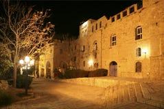 Vista di notte sulla via stretta in vecchia Giaffa Fotografia Stock Libera da Diritti