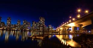 Vista di notte a Vancouver Canada Immagine Stock Libera da Diritti