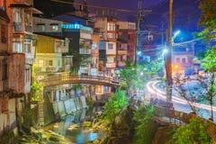 Vista di notte di vecchia via di Shiding fotografia stock libera da diritti