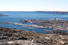 Vista di nuovo porto a Nuuk Fotografie Stock