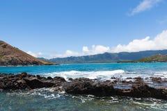 Vista di Oahu, Hawai da una piccola isola Fotografia Stock Libera da Diritti