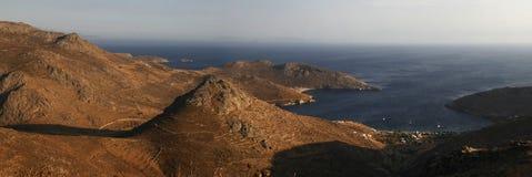 Vista di occhio dell'uccello dell'isola La Grecia Panorama Fotografie Stock Libere da Diritti